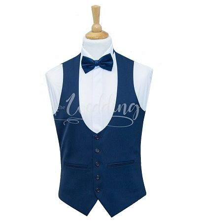 Blue low cut waistcoat with blue dicky bow tie on a manikin wearing a white shirt 2