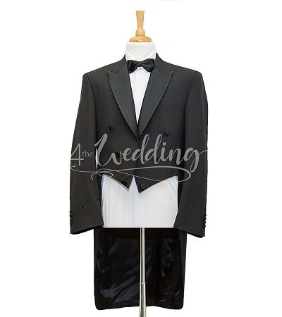 Black evening tail jacket with a black dicky bow tie on a manikin wearing a white shirt