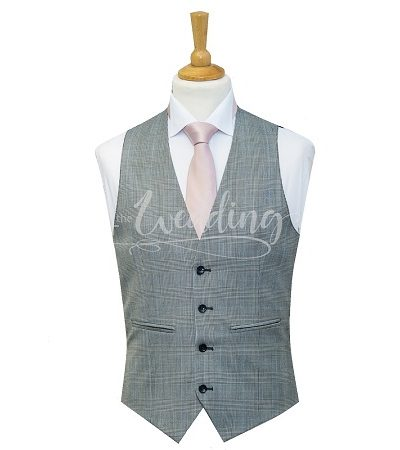 Grey Check waistcoat with light pink tie on a manikin wearing a white shirt