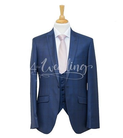 Navy blue check full suit with a light pink tie on a manikin wearing a white shirt 2