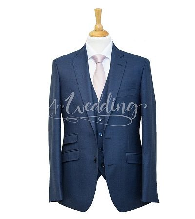 Navy blue full suit with a light pink tie on a manikin wearing a white shirt