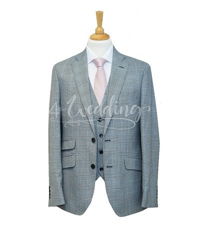 Light grey and blue check full suit with a light pink tie on a manikin wearing a white shirt