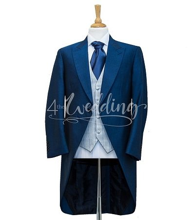Royal blue full suit tailcoat with a grey and blue check waistcoat and a light pink tie on a manikin wearing a white shirt 3