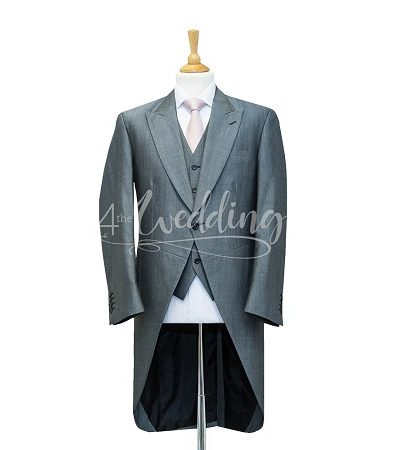 Silver full suit tailcoat with a light pink tie on a manikin wearing a white shirt 3