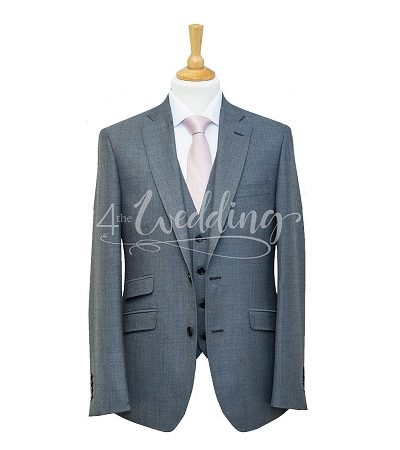 Grey and blue check full suit with a light pink tie on a manikin wearing a white shirt 3