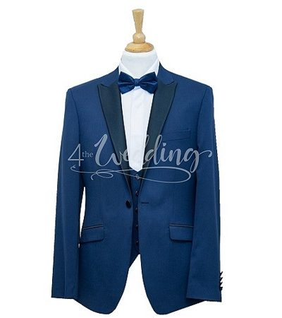 Two tone blue dinner jacket full suit with a blue dicky bow tie on a manikin wearing a white shirt