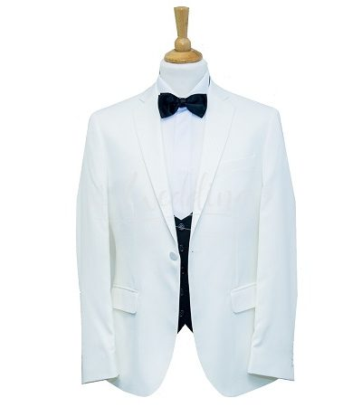 White tuxedo with black low cut blazer with a black dicky bow tie on a manikin wearing a white shirt