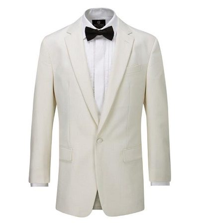 Cream Tuxedo with white detailed shirt and a black dicky bow 2