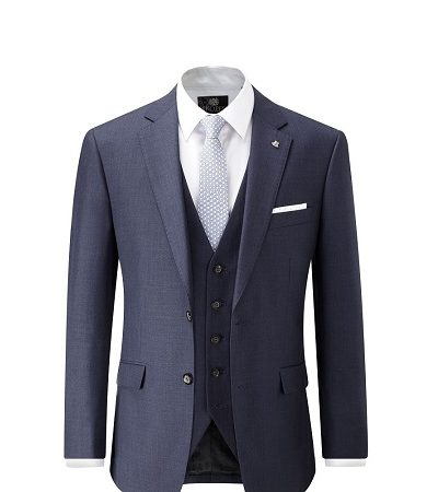 Indigo full suit with a blue patterned tie and white shirt 4