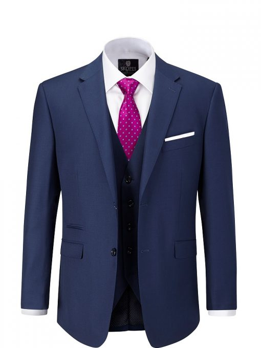 full navy suit with pink tie with white dots and a white shirt 2