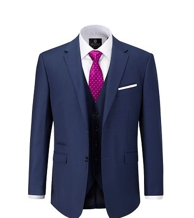 full navy suit with pink tie with white dots and a white shirt 3