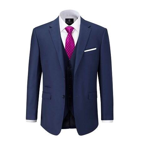 full navy suit with pink tie with white dots and a white shirt