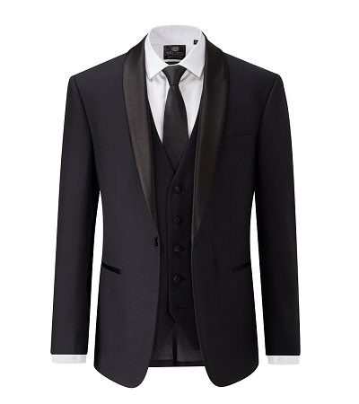 black blazer, waistcoat and dicky bow tie with white shirt 2