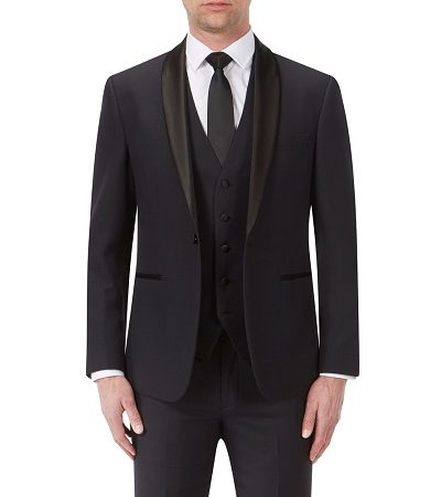 Full black suit with a black dicky bow modelled on a man 2
