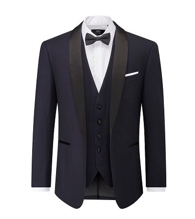 navy blazer, waistcoat and dicky bow tie with white shirt 2