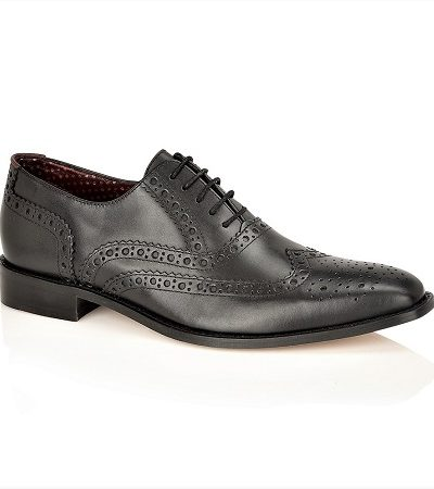 Dark brown shiny leather brogues with black sole