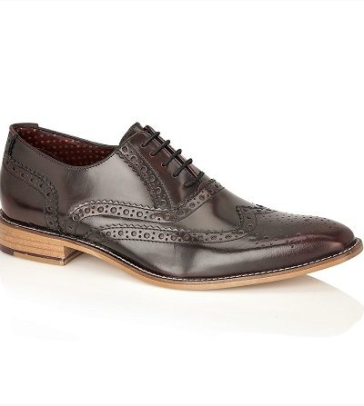 Dark brown shiny leather brogues with tan sole