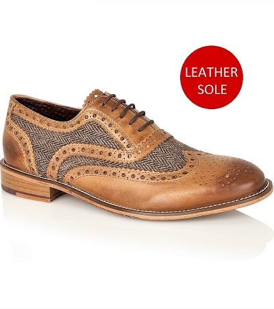 light brown brogues with brown tweed detailing