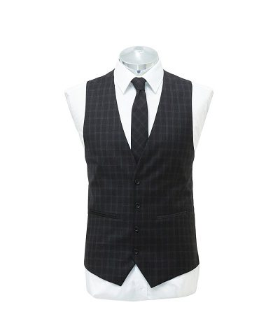 Black blue small check waist coat with matching tie on a manikin wearing a white shirt 2