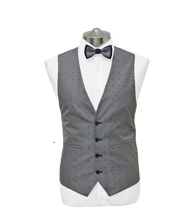 grey with blue dots waist coat with matching dicky bow tie on a manikin wearing a white shirt 2
