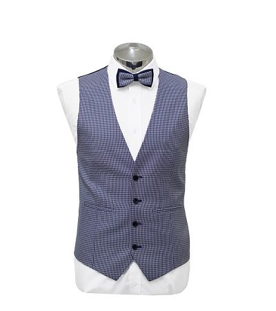 Blue and purple small check waist coat with matching dicky bow tie on a manikin wearing a white shirt