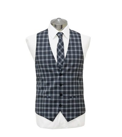 Blue small check waist coat with matching tie on a manikin wearing a white shirt 2