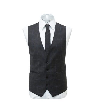 grey and blue small check waist coat with matching tie on a manikin wearing a white shirt 2