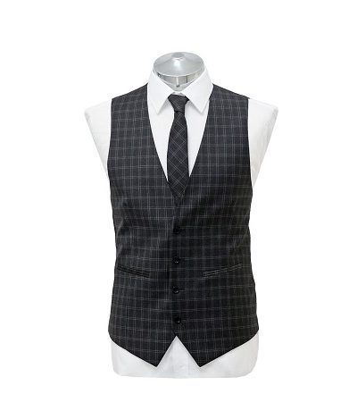 Grey blue small check waist coat with matching tie on a manikin wearing a white shirt 2