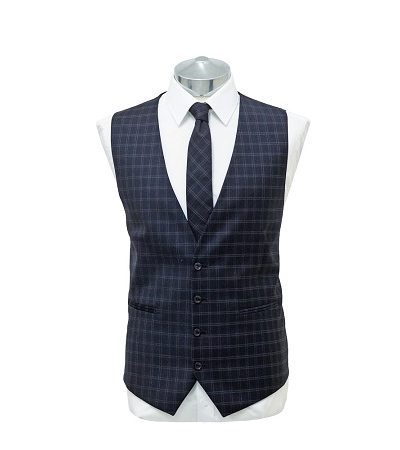 Navy blue small check waist coat with matching tie on a manikin wearing a white shirt 2