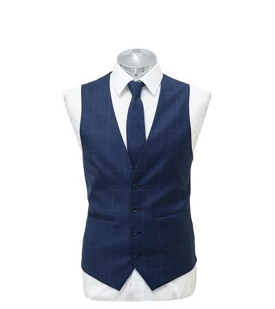 Bright blue small check waist coat with matching tie on a manikin wearing a white shirt 2